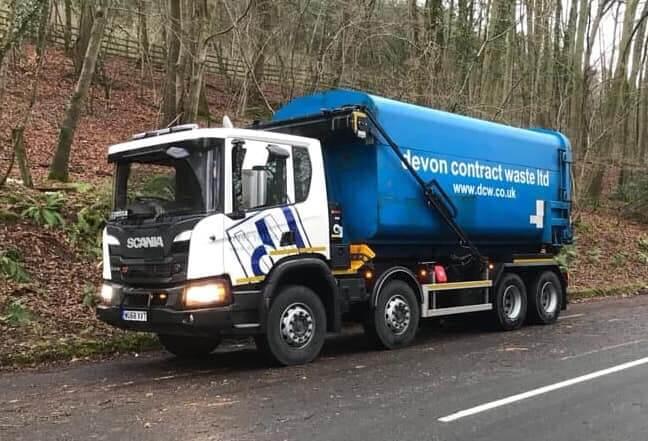 Devon Contract Waste van on side of road