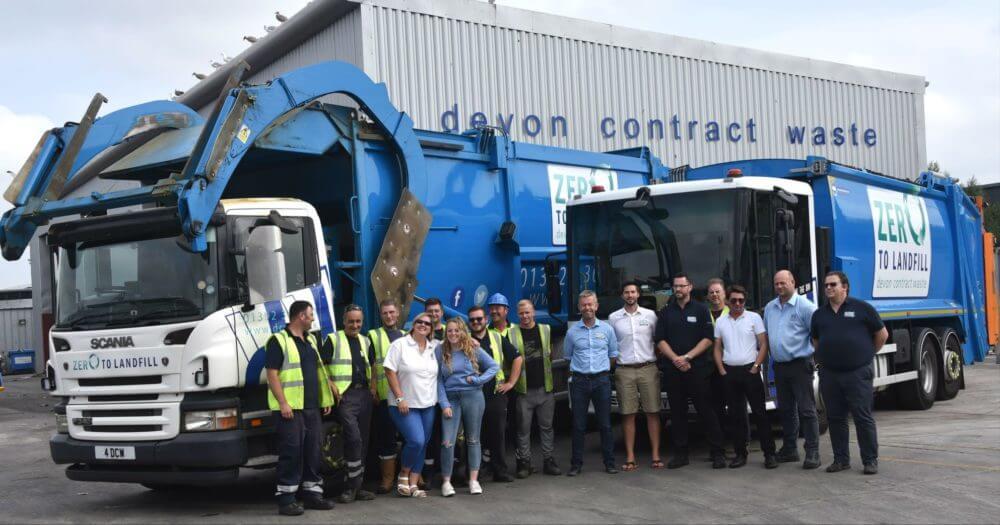 Devon Contract Waste recycling team in Exeter in front of van