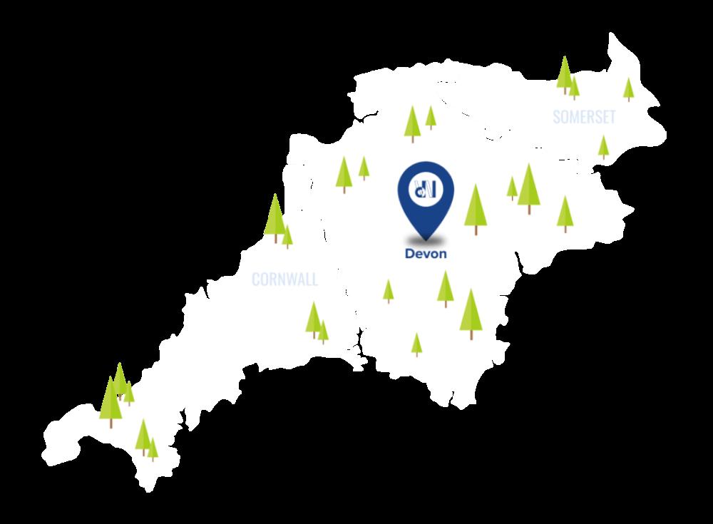 Map Pinpointing Devon